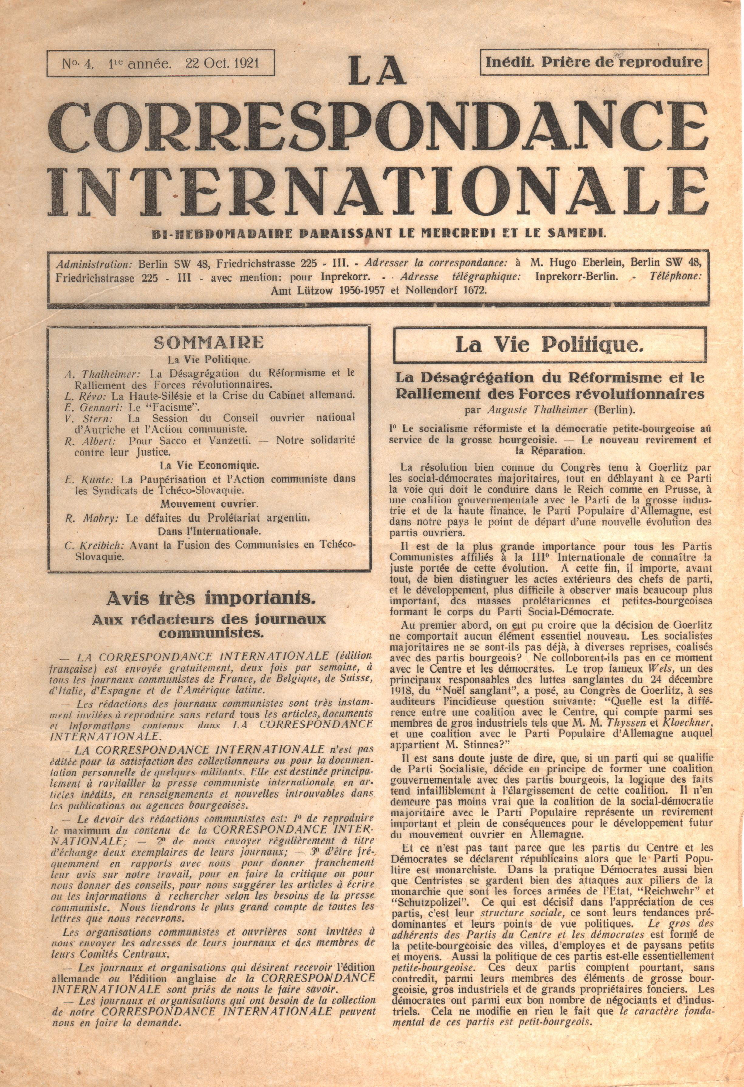 Correspondance Internationale n. 4 - pag. 1